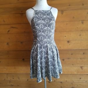 Abercrombie & Fitch Black Floral Fit Flare Dress